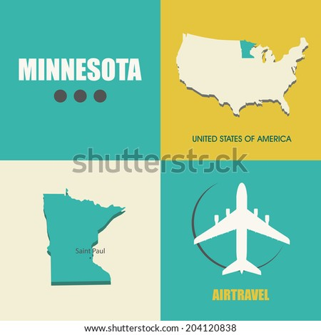 flat design with map Minnesota concept for air travel - stock vector