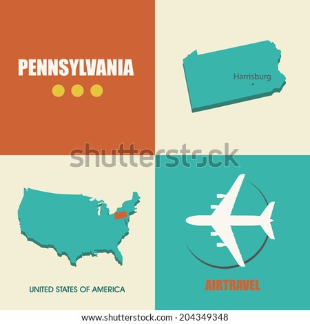 flat design with map Pennsylvania concept for air travel - stock vector