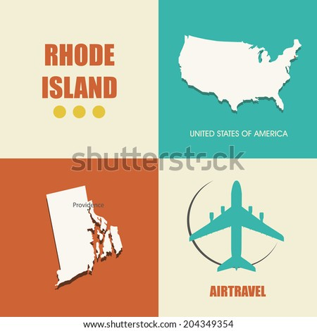 Flat Design With Map Rhode Island Concept For Air Travel