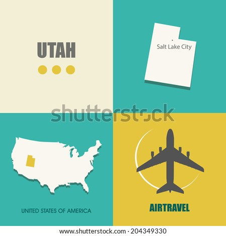 flat design with map Utah concept for air travel - stock vector