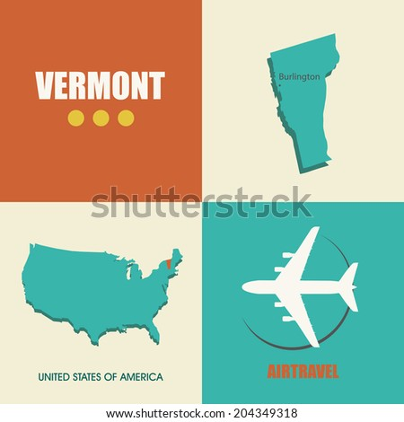 flat design with map Vermont concept for air travel - stock vector
