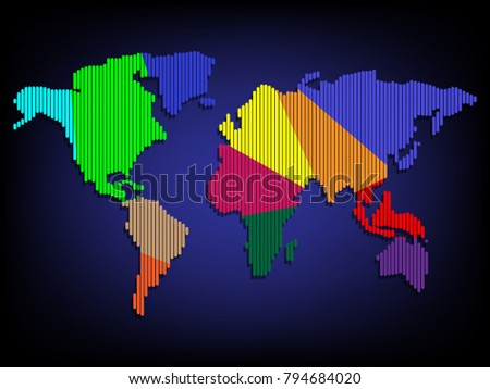 Flat design realistic world map countries 3 d stock vector 794684020 flat design with realistic world map countries 3d colorful world map background concept gumiabroncs Choice Image