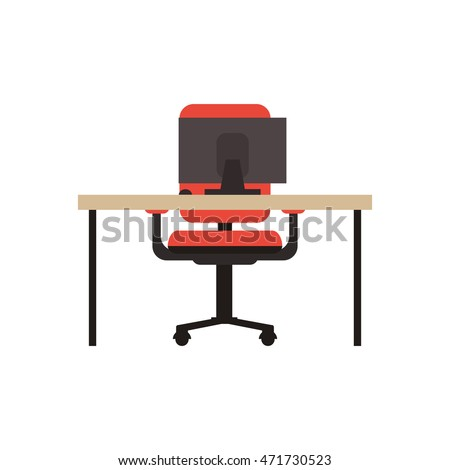 flat design workplace desk chair and computer icon vector illustration