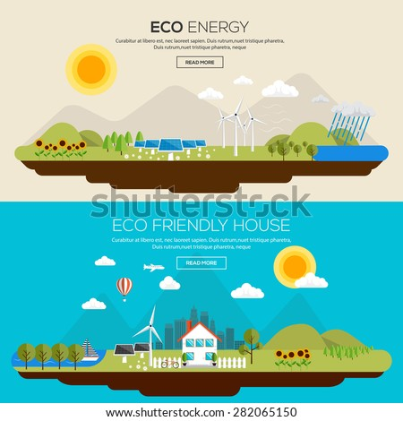 Flat Designed Banners Concept of  Eco energy an Eco friendly house. Icons Collection of Creative Work Flow Items and Elements. Vector - stock vector