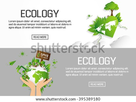 Flat designed banners for ecology. vector - stock vector