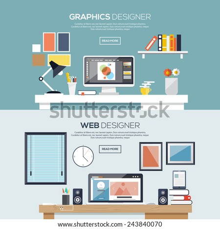 Flat designed banners for graphics and web designer. Vector - stock vector