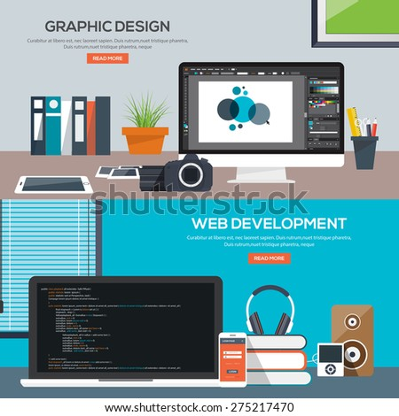 Flat designed banners for graphics design and web development. Vector - stock vector