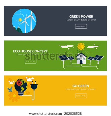 Flat designed banners for green power, eco house concept and go green. Vector - stock vector