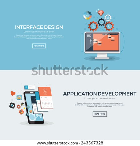 Flat designed banners for interface design and application development. Vector - stock vector