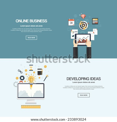 Flat designed banners for online businessl news and developing ideas. Vector - stock vector
