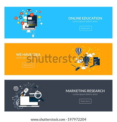 Flat designed banners for online education,marketing research and creative idea. Vector - stock vector