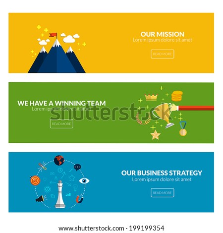 Flat designed banners for our mission, we have a winning team and our business strategy. Vector - stock vector