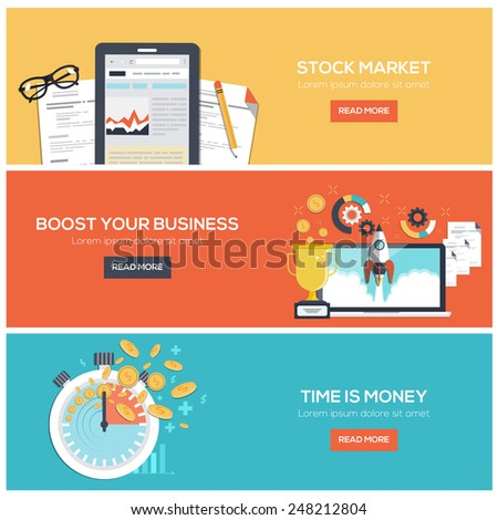 Flat designed banners for stock market, boost your business  and time is money. Vector - stock vector