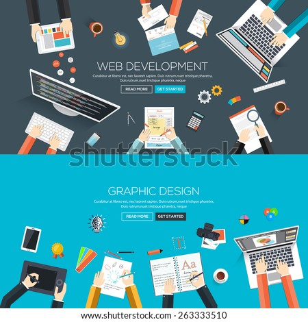 Flat designed banners for web development and graphic design. Vector - stock vector