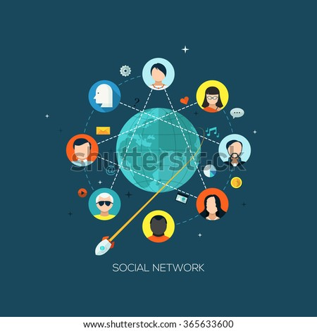 Flat designed concept illustration template for social media network, global communication and interactions. Design elements for web and mobile applications, infographics and workflow layout