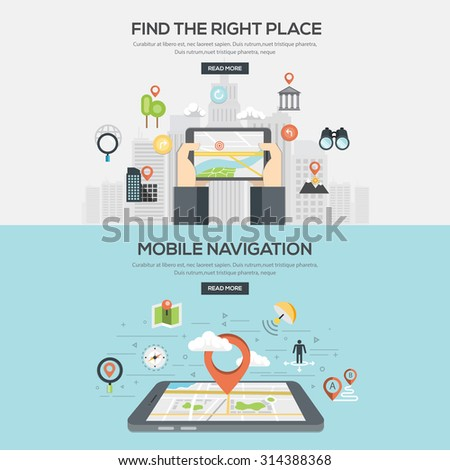 Flat designed Illustrations for Find the right place and Mobile navigation. Vector - stock vector