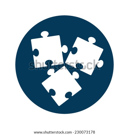Flat designed three white puzzles on blue circle. Business strategy. Co-working