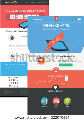 Flat designed web templates - stock vector