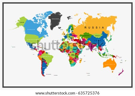 Flat Designs World Map Country Name Stock Vector 635725376