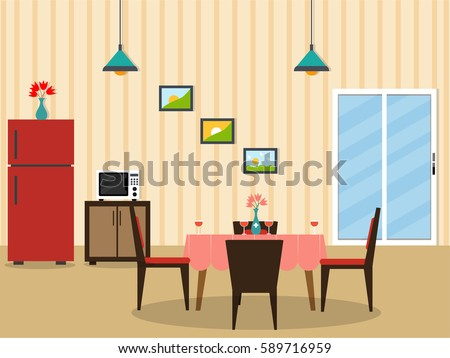 Flat Desing Interior Of A Dining Room.