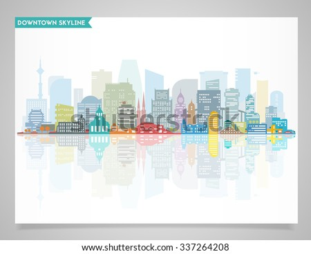 Flat detailed big city, downtown, skyline Illustration, divided on layers to create parallax effect - stock vector