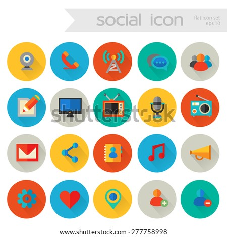 Flat detailed social colored icons on colored circles - stock vector
