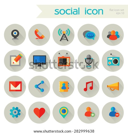 Flat detailed social colored icons with shadow on gray circles - stock vector