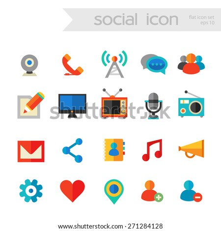 Flat detailed social network colored icons on white background - stock vector