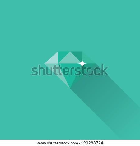 Flat Diamond Icon - stock vector