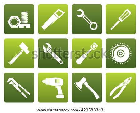 Flat different kind of tools icons - vector icon set