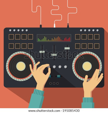 Flat Dj controller with hands. Vector illustration - stock vector