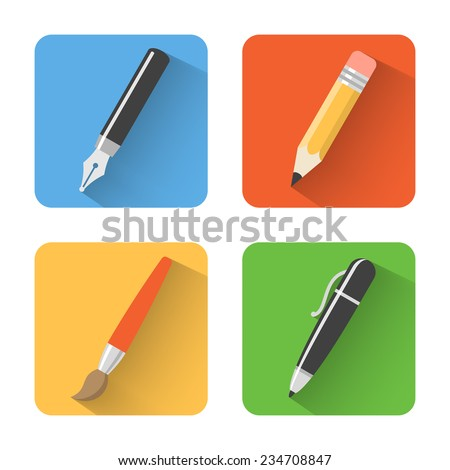 Flat drawing icons. Vector illustration