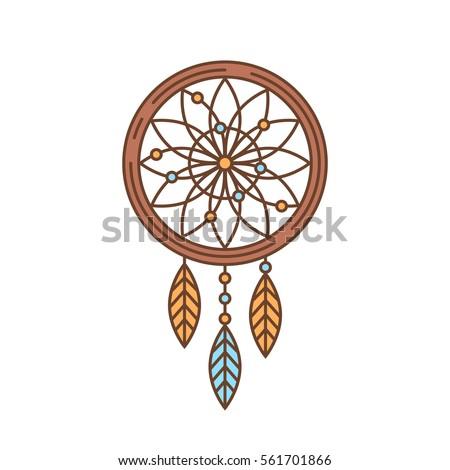 Dream Catchers Symbolism Flat Dream Catcher Thin Lined Icon Stock Vector 40 12