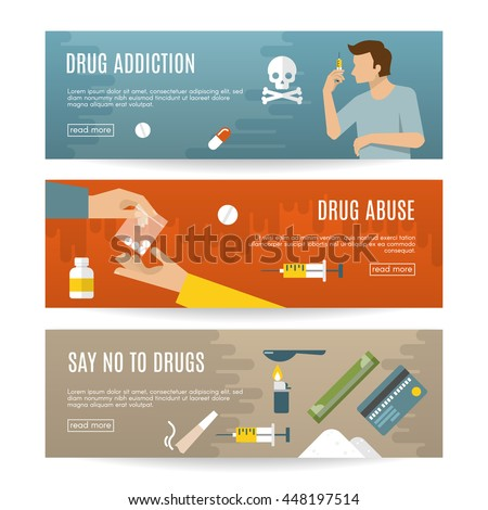Flat drugs banner set with descriptions of drug addiction drug abuse say no to drugs vector illustration