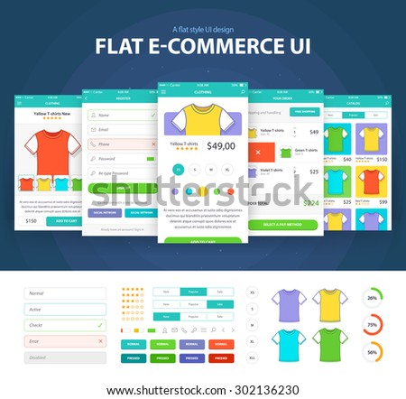 Flat E-commerce Ui (6 screen) - Clothing, Registration, Your Order, Catalog, Add to Cart - stock vector