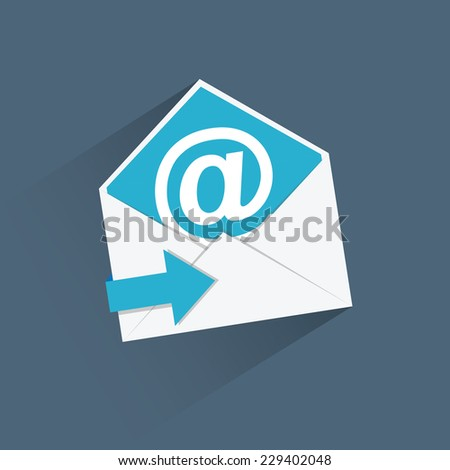 Flat e-mail vector icon with blue arrow and long shadow - stock vector