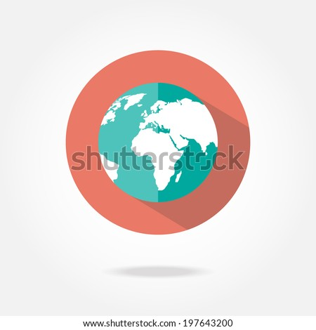 Flat earth icon. - stock vector