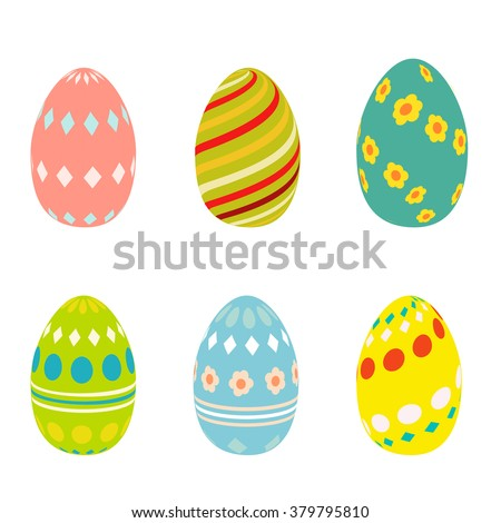 Flat Easter eggs cons. Easter eggs isolated on white background. Easter eggs for greeting cards. Easter eggs icons in cartoon modern style. Easter eggs design - stock vector