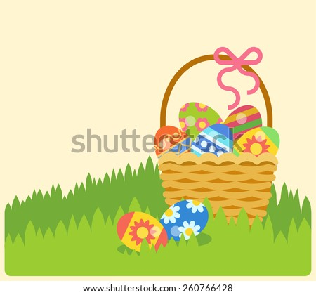 Flat Easter holiday modern style design vector celebration decoration postcard empty background template. Decorative elements objects painted eggs in the basket. - stock vector