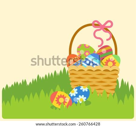 Flat Easter Holiday Modern Style Design Vector Celebration Decoration Postcard Empty Background Template Decorative Elements