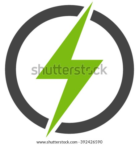 Flat eco green and gray electricity icon. - stock vector