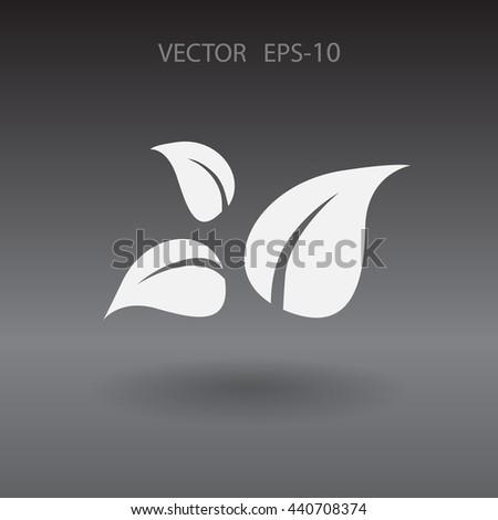 Flat eco leaf icon - stock vector