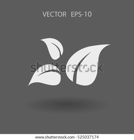Flat eco leaf icon. vector illustration
