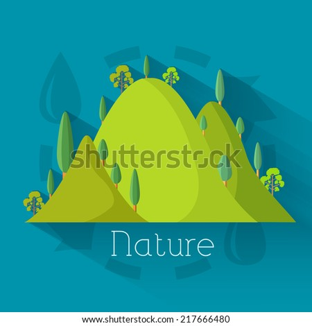Flat eco nature mountains background illustration concept - stock vector