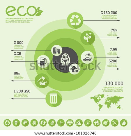 Flat Ecology Infographic Elements. Vector Illustration EPS 10. - stock vector