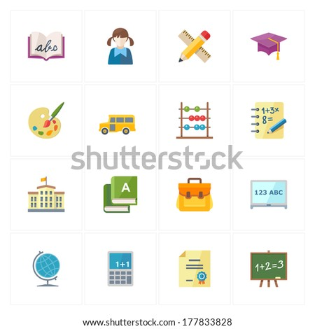 Flat Education Icons - Set 1 - stock vector