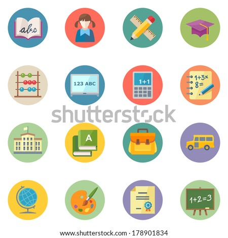 Flat Education Icons Set 1 - Dot Series - stock vector