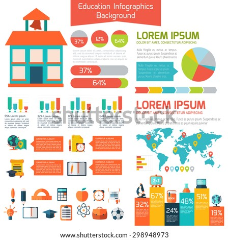 Infographic Ideas infographic template education : Flat Education Infographic Background Colorful Template Stock ...