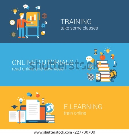 Flat education, training, online tutorial, e-learning concept. Vector icon banners template set. Web illustration. Teacher by the blackboard, book heap, laptop document. Website infographics elements. - stock vector