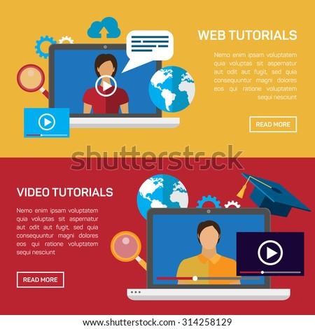Flat Education Training Online Tutorial Elearning Stock Vector ...